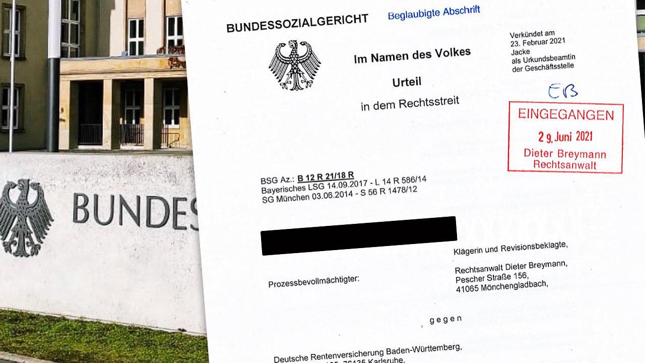 Grafik Bundessozialgericht Urteil vs. Deutschen RV